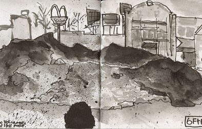 Consolidated, filthy snow pile—full of dirt and trash, at the Midway shopping center, as the sun set. Small Hahnemühle Nostalgie landscape sketchbook, Pentel squeezy pen with water-soluble dye ink, and a Tombow calligraphy brush pen. Click on the image to view an enlargement.