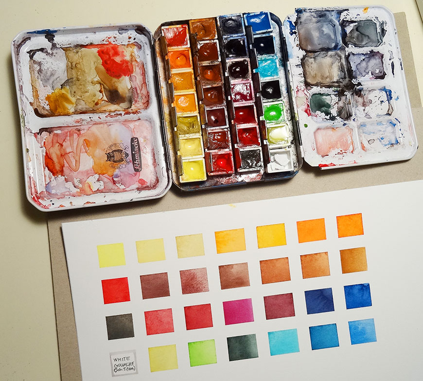 Photo showing my palette box and chart.