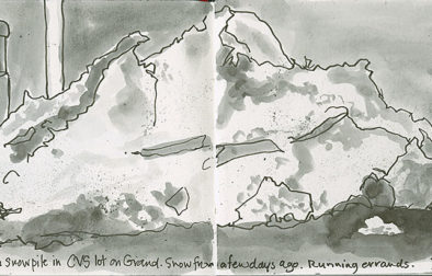 In a small landscape Hahnemühle Nostalgie journal I quickly sketched this snow pile with a fiber-tipped ink pen and washes pulled off my Pentel Brush pen with the Niji water brush.