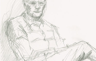 A five-minute pencil sketch  of Dick as he sat on the couch in the TV room. I just grabbed my mechanical pencil with a very thick, soft lead, and a piece of scratch paper that was handy. (I can't even tell you which kind of paper because the sketch disappeared after scanning—I think I might have made a to-do list on the back…