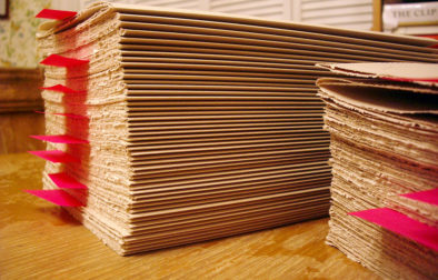 Stacks of Zerkall Nideggen awaiting binding into visual journals.