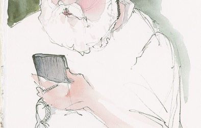 During an office visit I was able to quickly sketch this glorious white beard with a pen and watercolor. (8 x 8 inches)