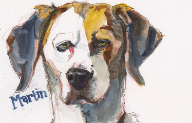 "A sketch of Martin, the star of ""Downward Dog"" television series. Pencil, pen, and watercolor on Stonehenge."