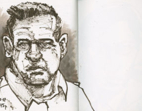 """Actor Brad William Henke in his role as the vicious prison guard in """"Orange is the New Black."""" 9 x 12 inch Fabriano Venezia journal. Sepia Pentel Color Brush and water to dilute ink."""