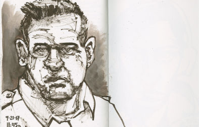"Actor Brad William Henke in his role as the vicious prison guard in ""Orange is the New Black."" 9 x 12 inch Fabriano Venezia journal. Sepia Pentel Color Brush and water to dilute ink."