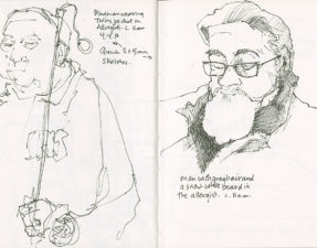 Two quick pen sketches while I sat in the waiting room at the Allergist's.