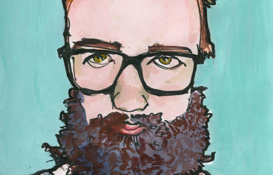 Brush pen and watercolor sketch made from a Sktchy muse—a young woman wearing a fake beard. (I like to draw beards, what can I say.) The finished page has a Montana Acrylic Marker background applied after the sketch was finished.