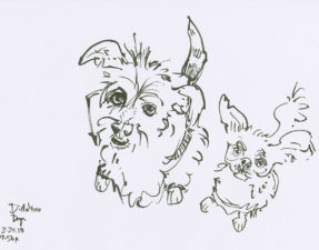 I  find that even a quick sketch of dogs will bring me out of a funk and get me back to focusing on actions I can take to turn things around. Dogs are about living in the present moment. If we can't live with them (and currently I don't have dogs) we can still remember and learn from them as we draw them. (These are two lovely dogs on Sktchy.)