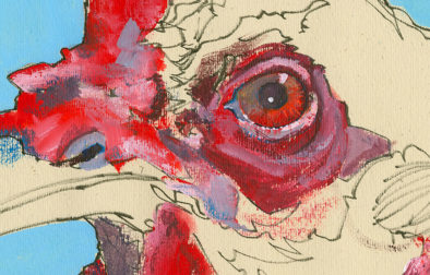 Detail of the eye area. Dry strokes of paint stumbled over the top of dry lower layers take texture from the paper and create a fun broken-color effect that helps mimic the texture on a chicken's face.