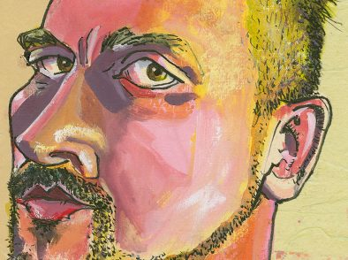 Detail of the face area showing the watercolor.