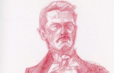Detail of color pencil sketch on Stonehenge Aqua Hot Press.