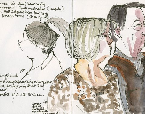 People around me at the dentist's office. Small Hahnemühle Watercolor Journal. Sakura Pigma Professional Brush Pen FB and watercolor.