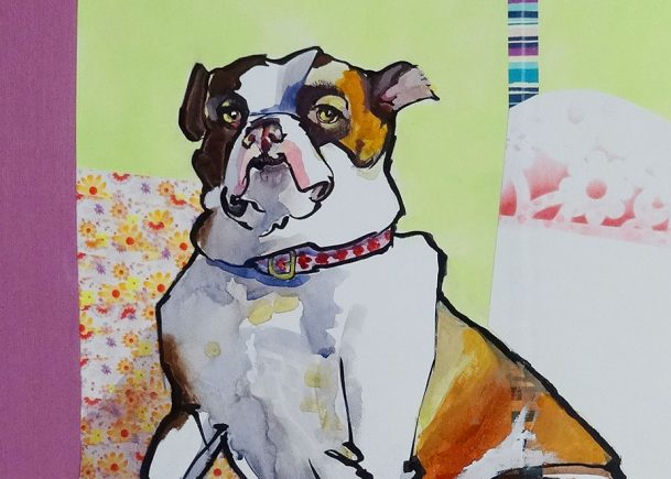 23 x 21 inch piecemeal portrait of a dog. Brush pen, watercolor and collage.