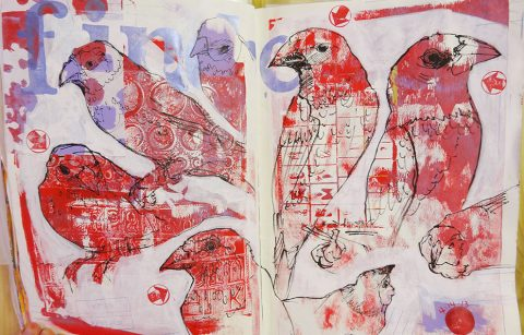 Page spread from an oversize journal with texture layers and sketches of aviary finches.