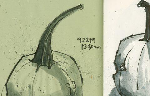 190922-2-pumpkin-brush-pen-ink-wash-green-lined-2CRALTDetail