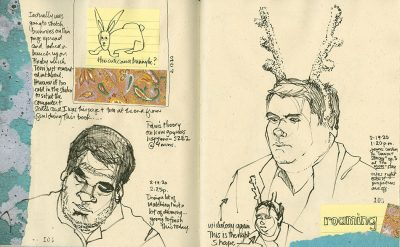 8 1/2 x 11 inch handmade journal with OLD Gutenberg paper. Some collage and thoughts, as well as sketches of James Corden.